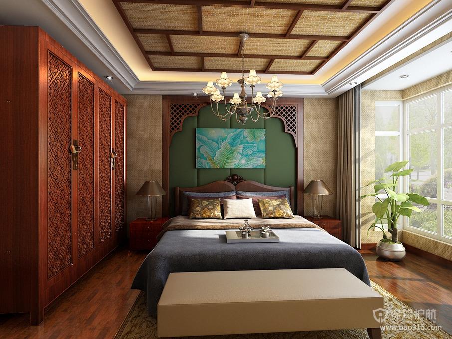 东南亚风格卧室吊顶装修效果图