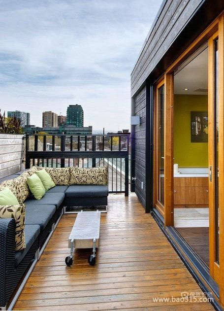170平别墅露天阳台木地板铺设效果图