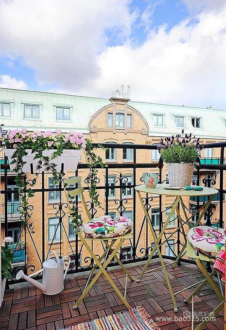 清新欧式小阳台花园装修效果图