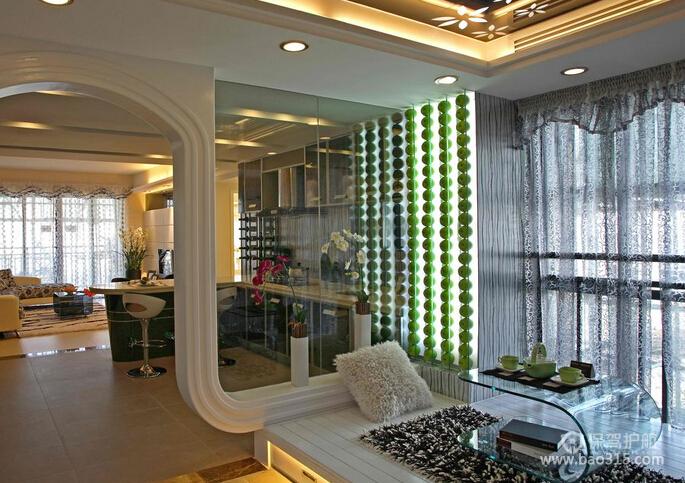 巴洛克风格别墅豪华客厅落地窗装修效果图