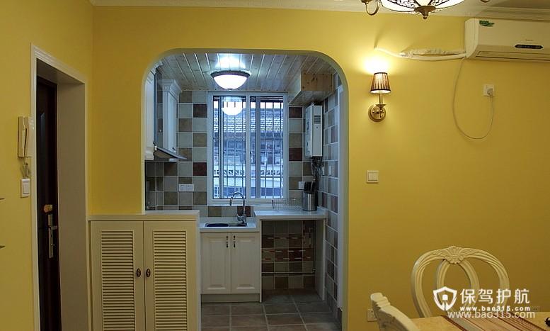 90㎡楼房地中海风格开放式厨房隔断装修图片