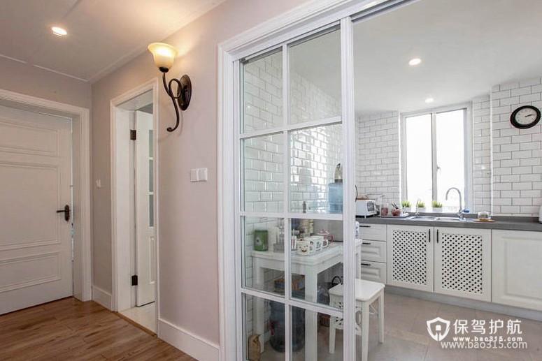 90㎡楼房简欧风格开放式厨房隔断装修效果图-简欧风格厨房隔断门图片