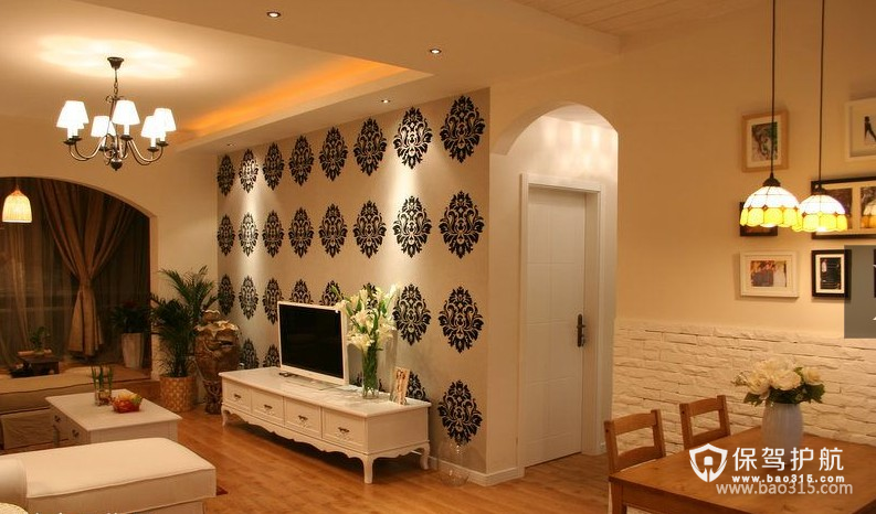 100m²二居室田园风格客厅电视背景墙装修图片-田园风格电视柜图片