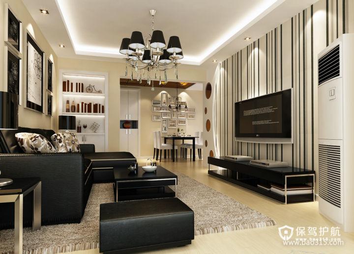 75m²二居室现代风格客厅吊顶装修效果图-现代风格茶几图片