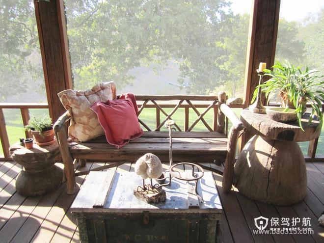 乡村风格阳台装修图片-乡村风格实木家具图片