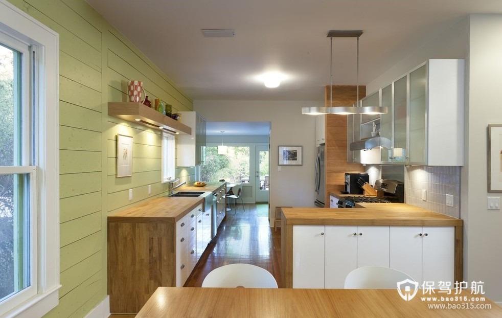 90㎡楼房现代风格开放式厨房隔断装修效果图-现代风格实木橱柜图片