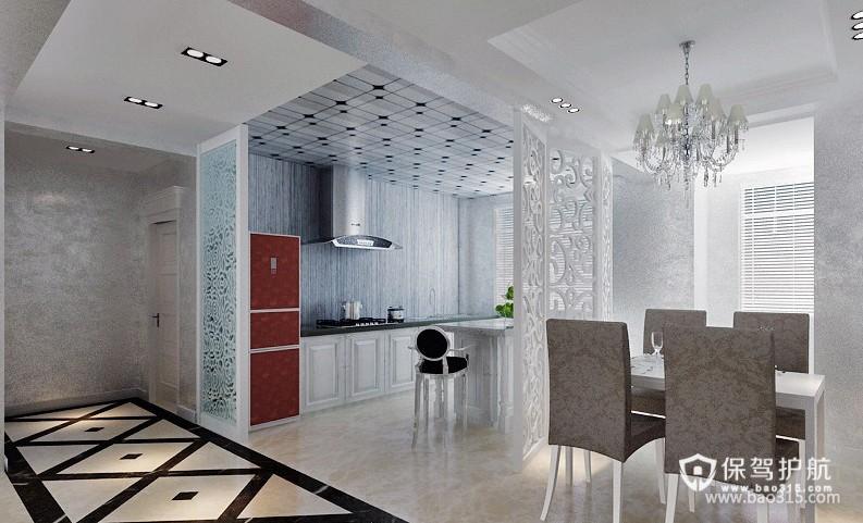 90㎡楼房现代风格开放式厨房隔断装修效果图-现代风格橱柜图片