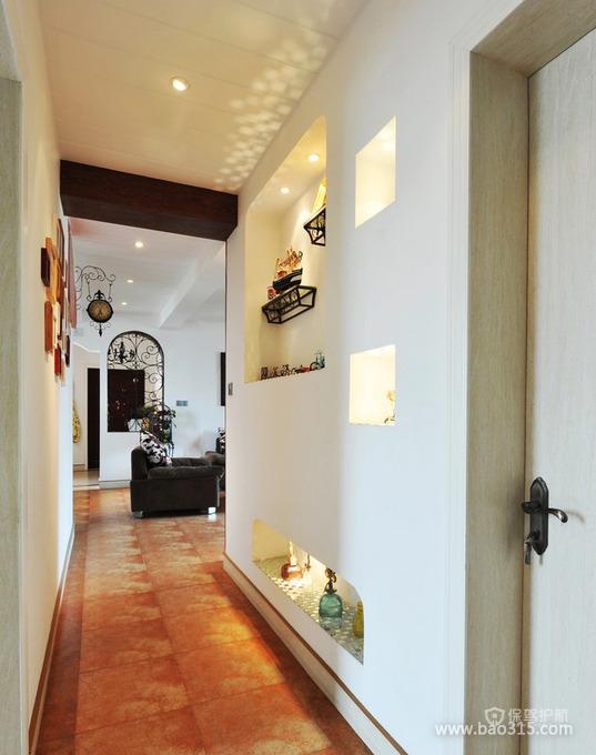 古典乡村风格三居室玄关墙面装修效果图