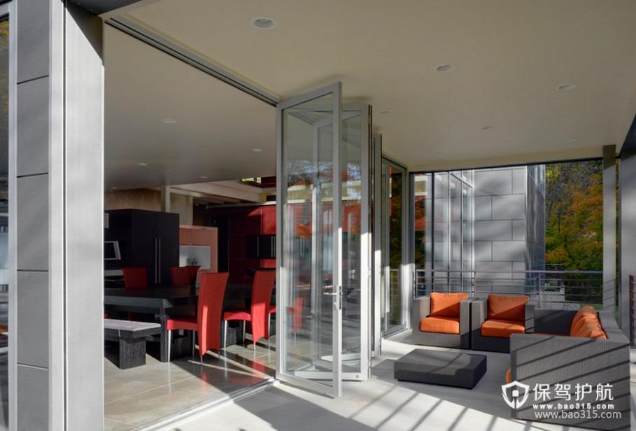 90㎡楼房现代风格阳台装修效果图-现代风格阳台门图片