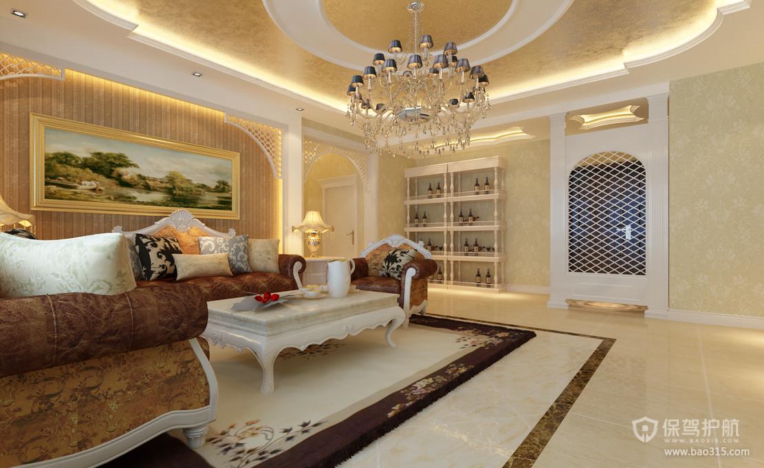 180平欧式风格别墅客厅吊顶装修效果图