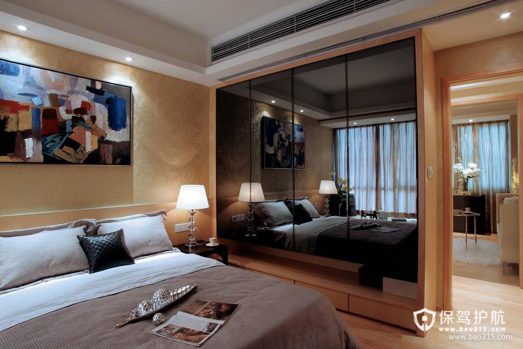 89㎡现代风格卧室床头背景墙装修图片-现代风格床头灯图片
