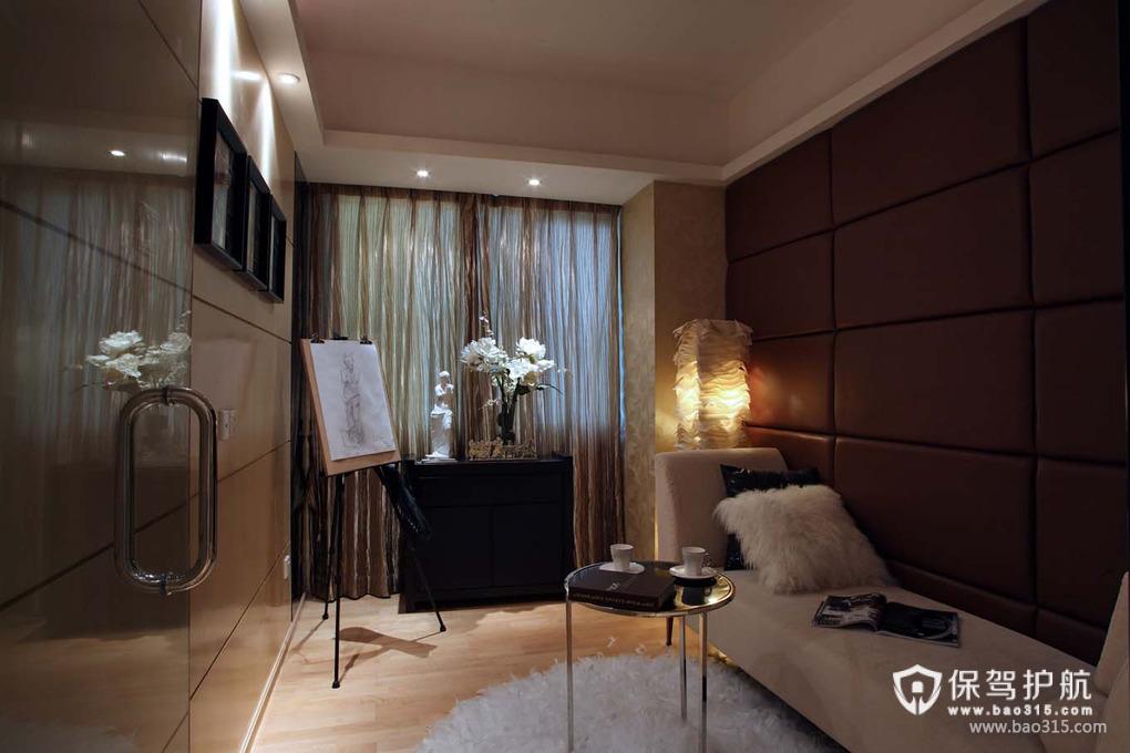89㎡现代风格休闲娱乐间软包背景墙装修图片-现代风格贵妃椅图片
