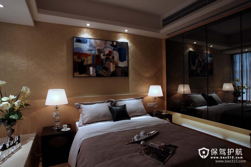 89㎡现代风格卧室床头背景墙装修图片-现代风格床图片