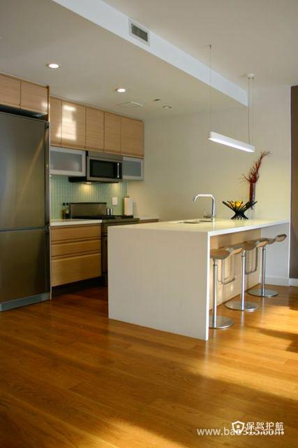 简洁且时尚的开放式厨房装修效果图