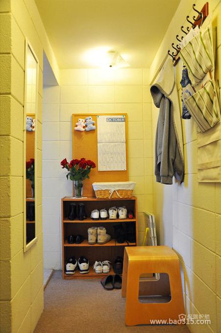 两室一厅田园风格玄关鞋柜软装效果图