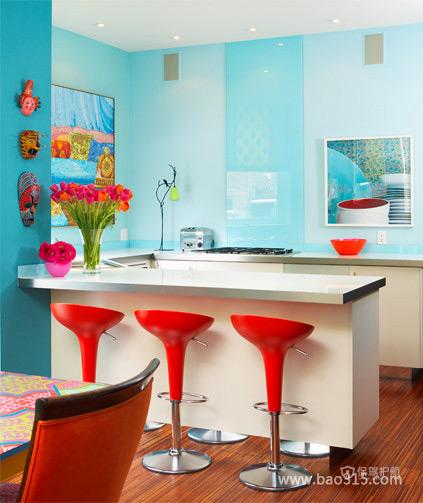 现代风格三室一厅客厅吧台装修效果图