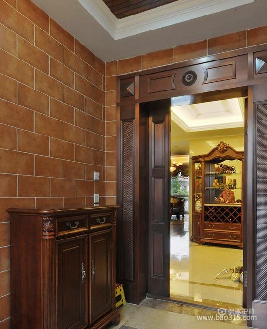 豪华装修的大户型进门玄关效果图