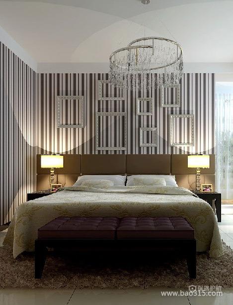 现代DIY个性卧室床头背景墙装修效果图