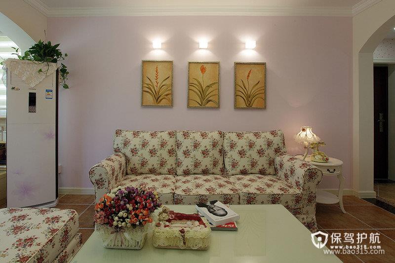 90㎡田园风格客厅沙发背景墙装修图片-田园风格沙发图片