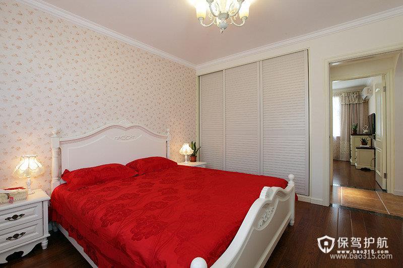 90㎡田园风格卧室背景墙装修图片-田园风格床头柜图片