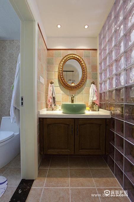 90㎡田园风格洗手间装修图片-田园风格面盆图片