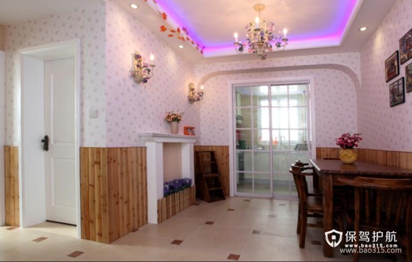 90㎡楼房田园风格餐厅背景墙装修图片-田园风格厨房隔断门图片