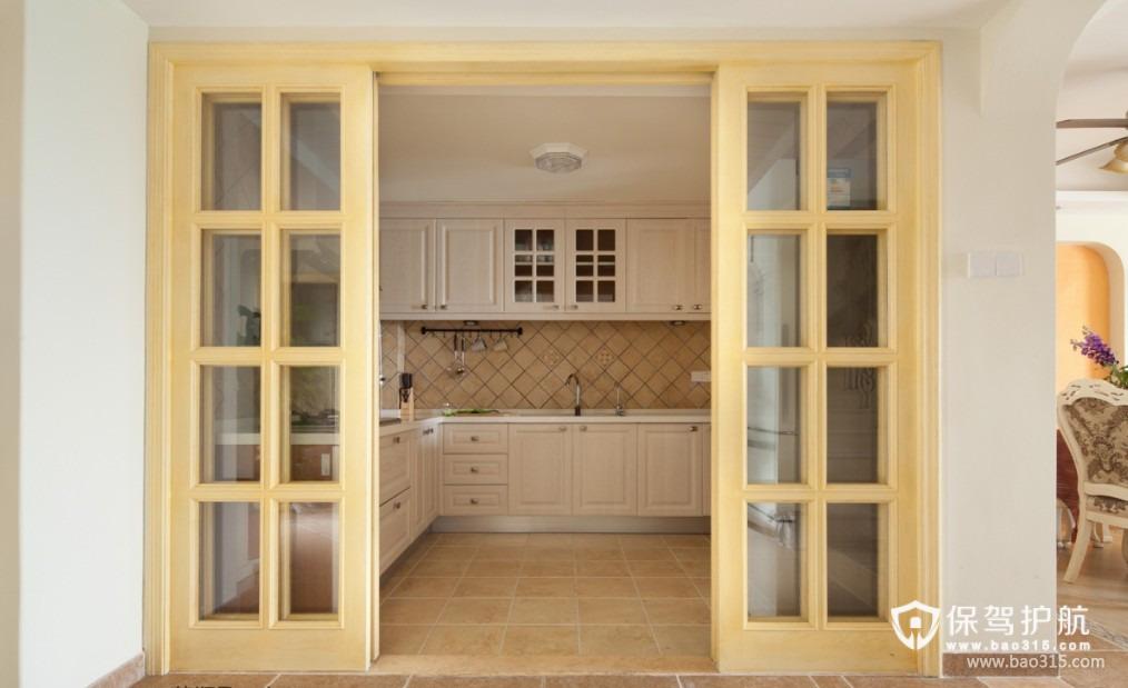 90㎡楼房简欧风格厨房吊顶装修图片-简欧风格厨房隔断门图片