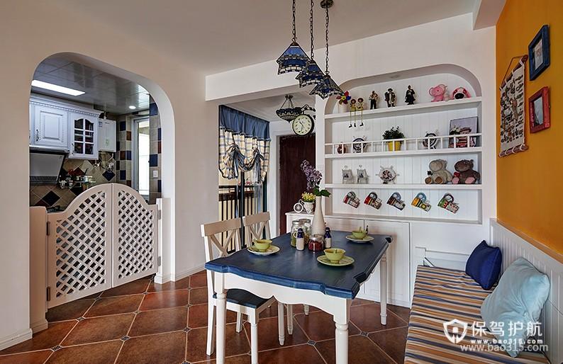 90㎡楼房地中海风格餐厅隔断装修效果图-地中海风格厨房隔断门图片