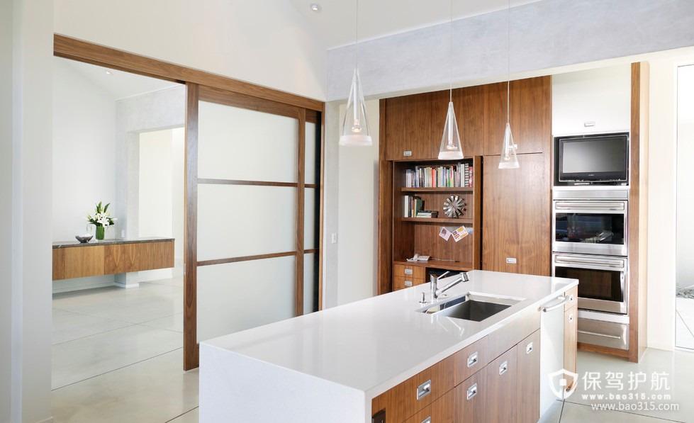 90㎡楼房现代风格开放式厨房隔断装修效果图-现代风格厨房隔断门图片