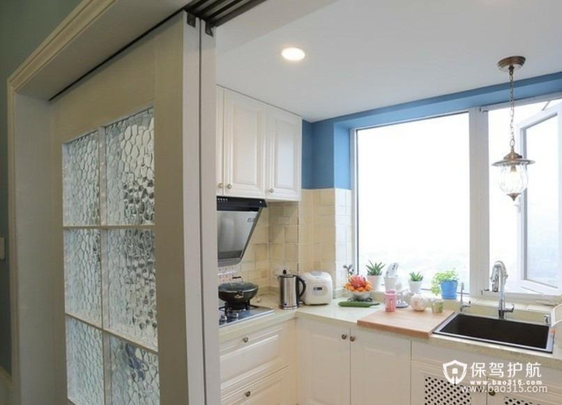 90㎡楼房地中海风格厨房吊顶装修图片-地中海风格厨房隔断门图片
