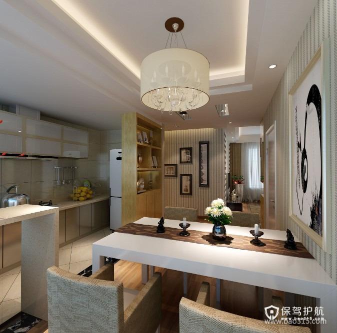 90㎡楼房现代风格开放式厨房隔断装修效果图-现代风格厨房隔断柜图片
