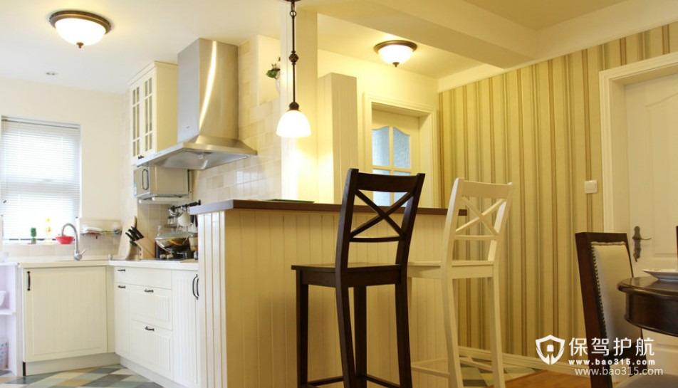 90㎡楼房简欧风格开放式厨房隔断装修效果图-简欧风格吧台椅图片
