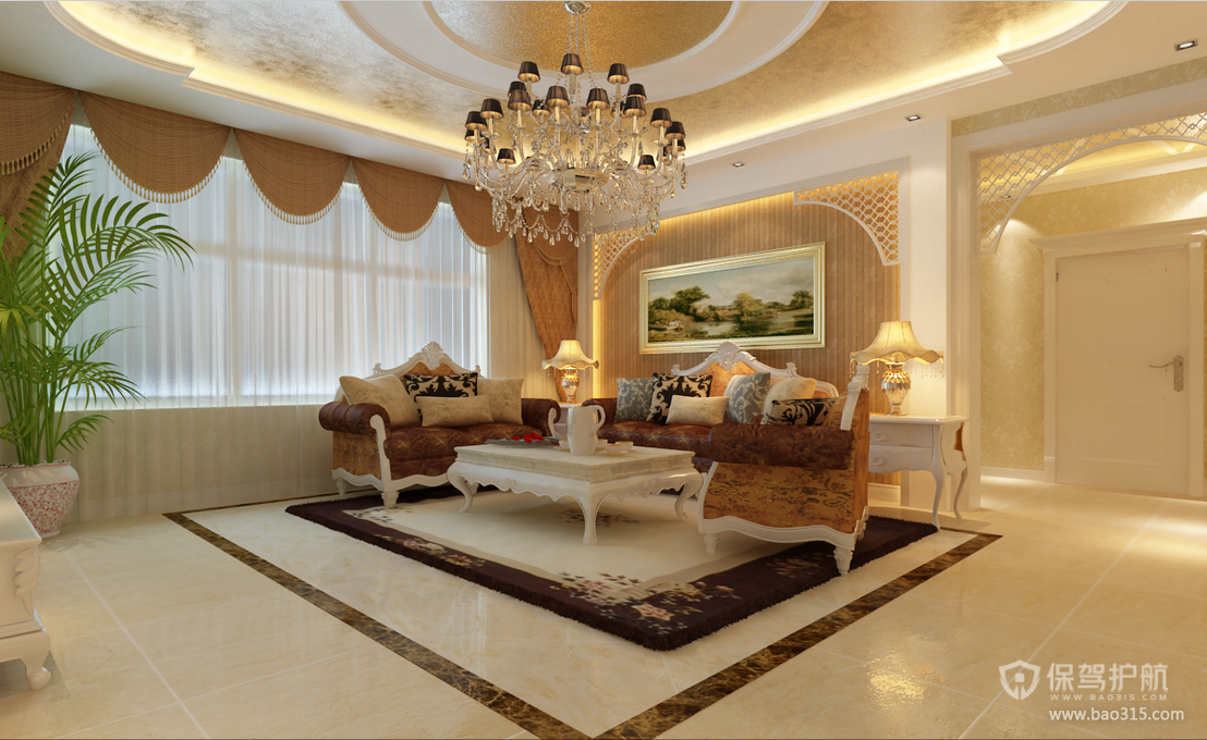 178㎡欧式风格客厅沙发背景墙装修效果图