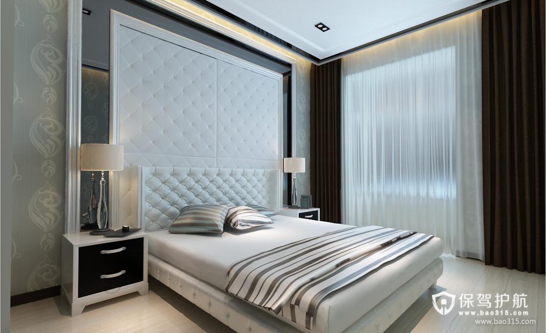 85㎡现代风格卧室床头背景墙装修效果图-现代风格床图片