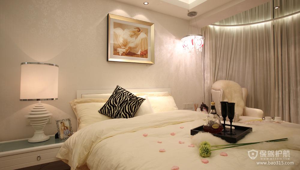 50㎡现代简欧风格卧室床头背景墙装修图片