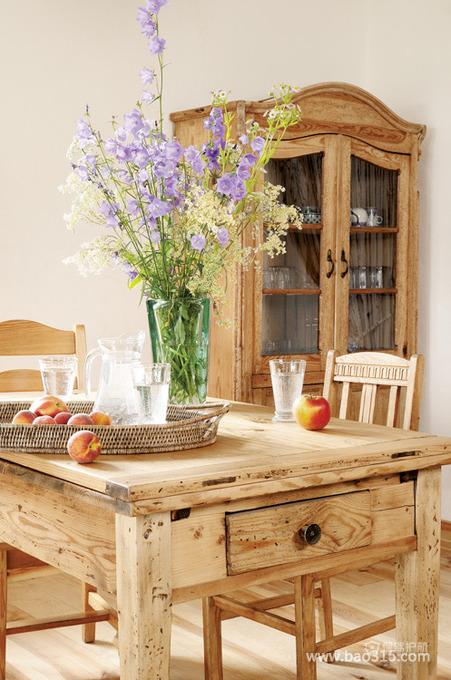 田园风格两室一厅餐厅实木家具软装效果图