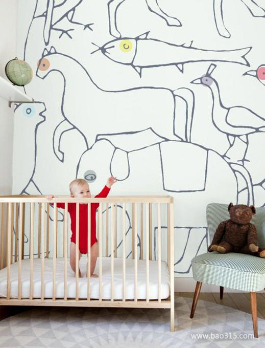 現代可愛兒童房墻面裝修效果圖