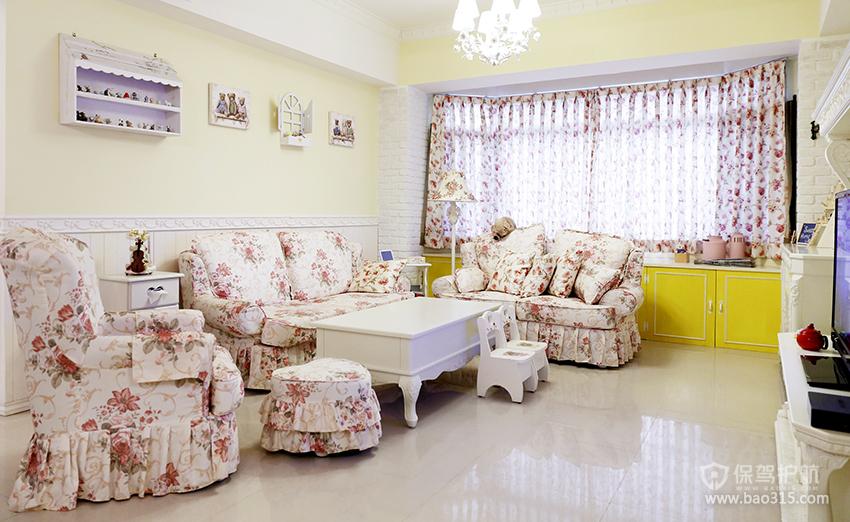 90㎡二居室田园风格客厅沙发背景墙装修图片-田园风格沙发图片
