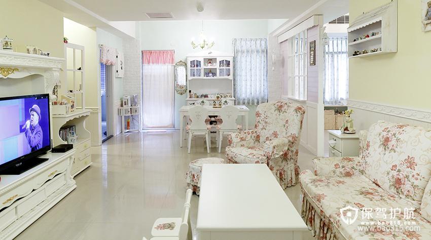 90㎡二居室田园风格客厅装修图片-田园风格茶几图片