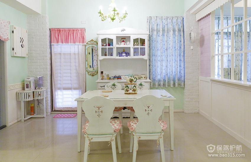 90㎡二居室田园风格餐厅装修图片-田园风格餐桌餐椅图片
