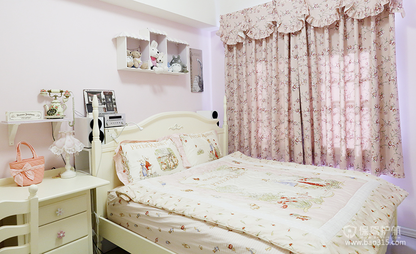 韩式风格20平卧室碎花窗帘效果图