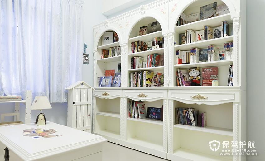 90㎡二居室田园风格书房装修图片-田园风格书柜图片