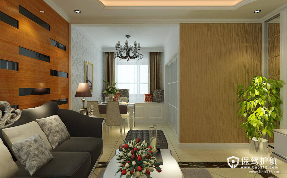 90㎡二居简欧风格客厅沙发背景墙装修效果图-简欧风格茶几图片