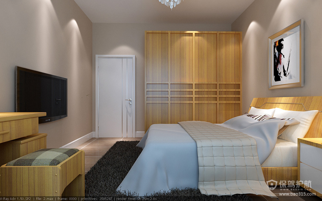 90平三室一厅简约风格卧室背景墙装修效果图