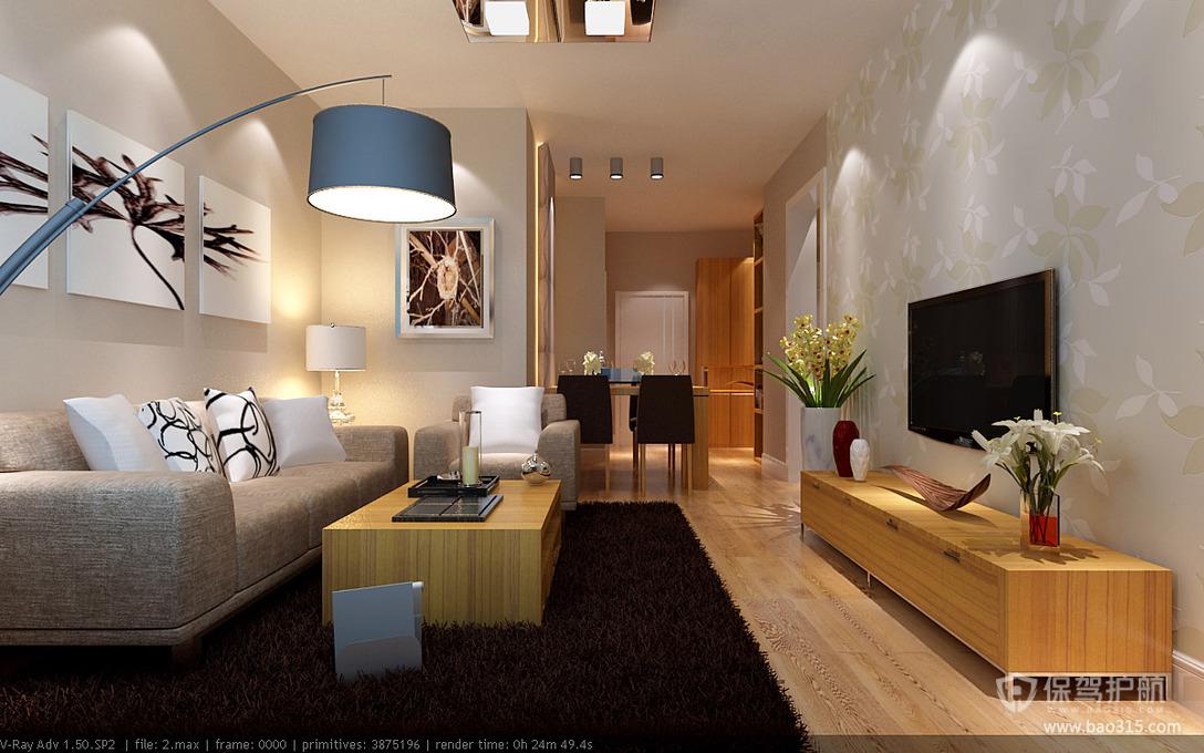 90平三室一厅简约风格客厅沙发背景墙装修效果图