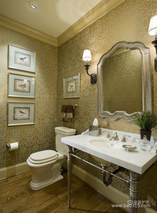 法式宫廷风豪华卫生间壁纸装修效果图