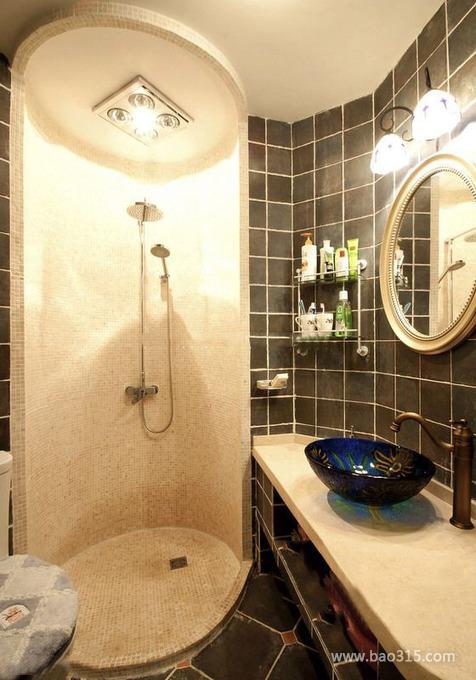 简欧风淋浴房马赛克瓷砖装修效果图