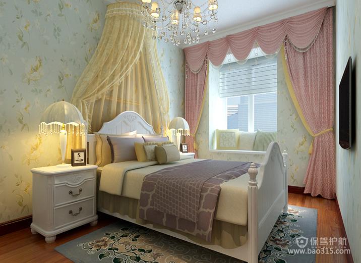 两室一厅简欧风格公主风卧室窗帘效果图