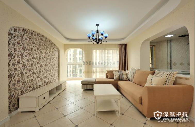 90㎡二居室地中海风格客厅电视背景墙装修图片-地中海风格转角沙发图片