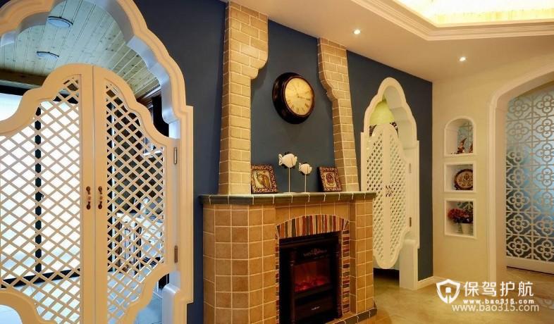 90㎡二居室地中海风格大厅墙面装修图片